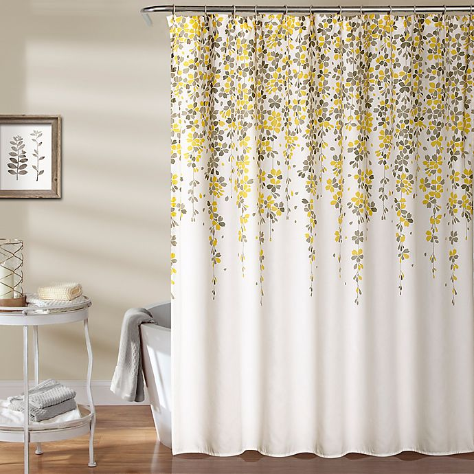 Alternate image 1 for Weeping Flower 72-Inch Shower Curtain in Yellow/Grey
