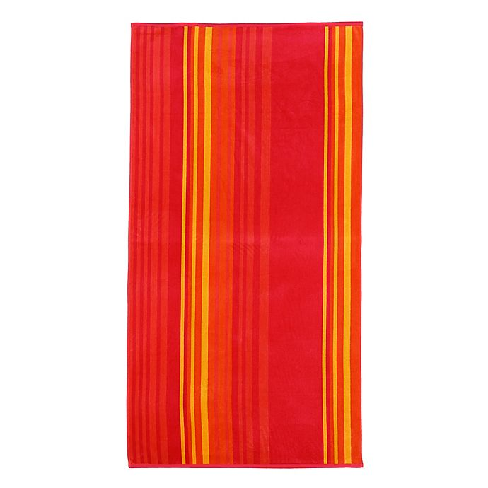Alternate image 1 for Warm Stripe Beach Towel in Coral