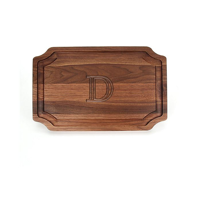 Alternate image 1 for Cutting Board Company 15-Inch x 24-Inch Scalloped Wood Monogram Letter \