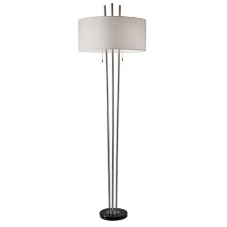 Adesso 174 Anderson Floor Lamp In Brushed Steel Bed Bath Amp Beyond
