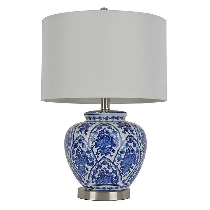 Alternate image 1 for Décor Therapy Ceramic Table Lamp in Blue/White with Drum Shade