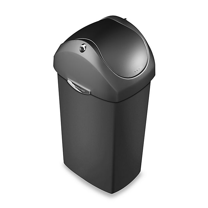 Alternate image 1 for simplehuman® Plastic Swing Lid 60-Liter Trash Can in Grey