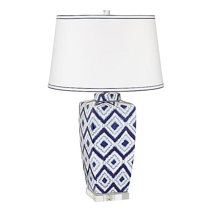 Alternate image 1 for Pacific Coast® Lighting Diamond Pattern Ceramic Table Lamp in Blue/White