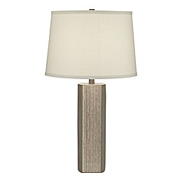 Pacific Coast® Lighting Faux Cement Table Lamp in Grey with Hardback Linen Tapered Drum Shade