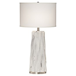 Pacific Coast® Lighting Faux Marble Table Lamp in White with Hardback Oval Drum Shade