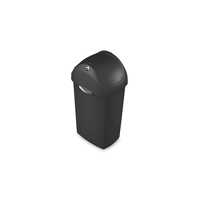 Alternate image 1 for simplehuman® Plastic Swing Lid 60-Liter Trash Can in Black