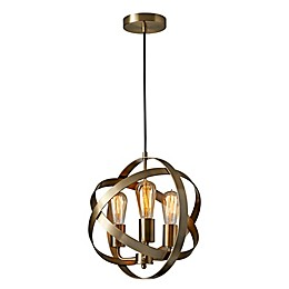 Adesso® Donovan 3-Light Pendant Ceiling Fixture in Antique Brass