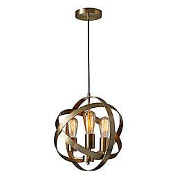 Adesso® Donovan 3-Light Pendant Ceiling Fixture in Antique Brass