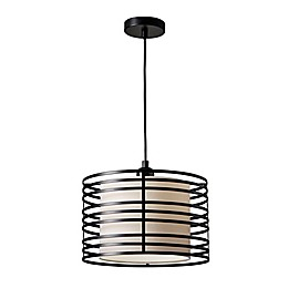 Adesso® Reed 1-Light Pendant Ceiling Fixture in Walnut/Black