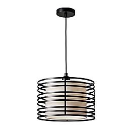 Adesso® Reed 1-Light Pendant Ceiling Fixture in Walnut/Black