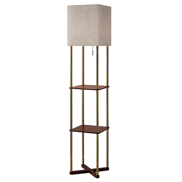 Adesso Harrison Shelf Floor Lamp Bed
