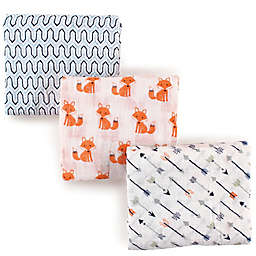Hudson Baby 3-Pack Foxes Muslin Swaddle Blanket in Blue
