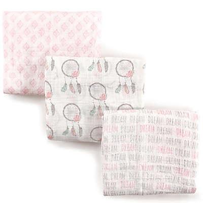 Hudson Baby 3-Pack Dream Muslin Swaddle Blanket in Pink