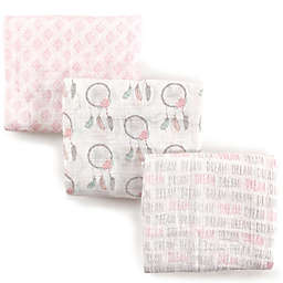 Hudson Baby 3-Pack Dream Muslin Swaddle Blanket in Pink