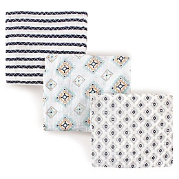 Hudson Baby 3-Pack Aztec Muslin Swaddle Blanket in Blue
