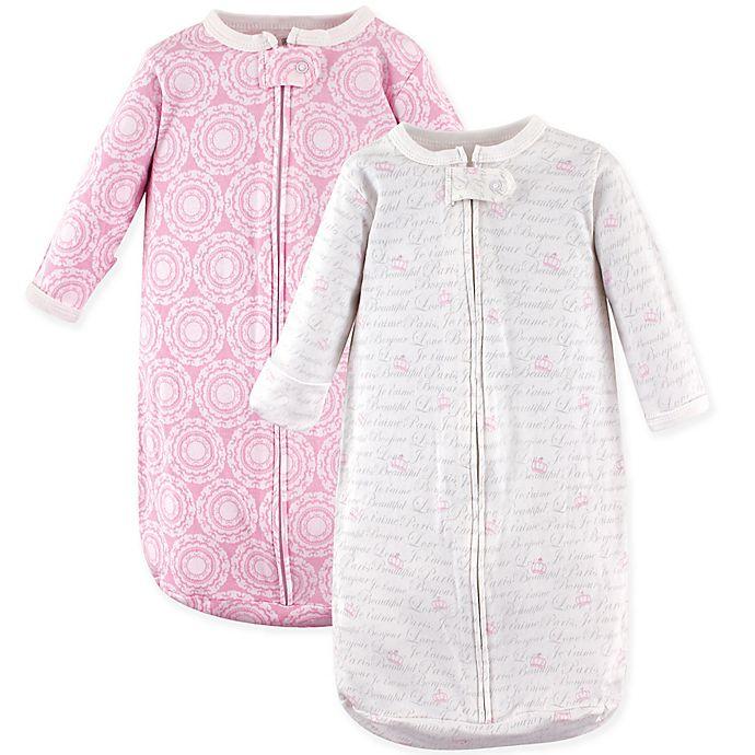 Alternate image 1 for Hudson Baby® 2-Pack Long Sleeve Script Sleeping Bag in Pink