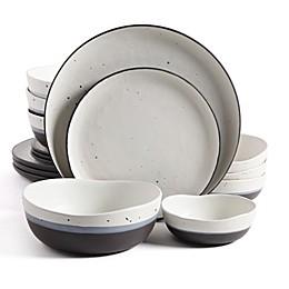 Gibson Elite Rhinebeck Double Bowl 16-Piece Dinnerware Set in White/Black