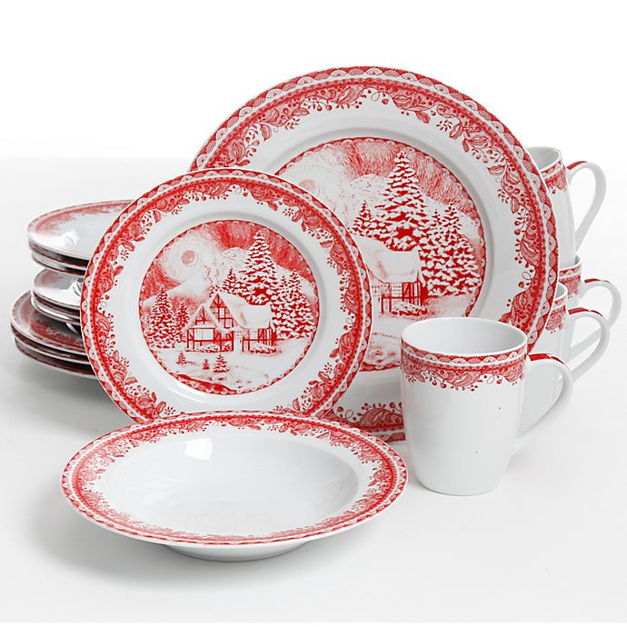 Alternate image 1 for Gibson Elite Winter Cottage 16-Piece Dinnerware Set in White/Red