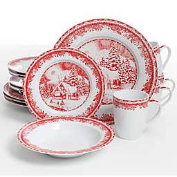 Gibson Elite Winter Cottage 16-Piece Dinnerware Set in White/Red