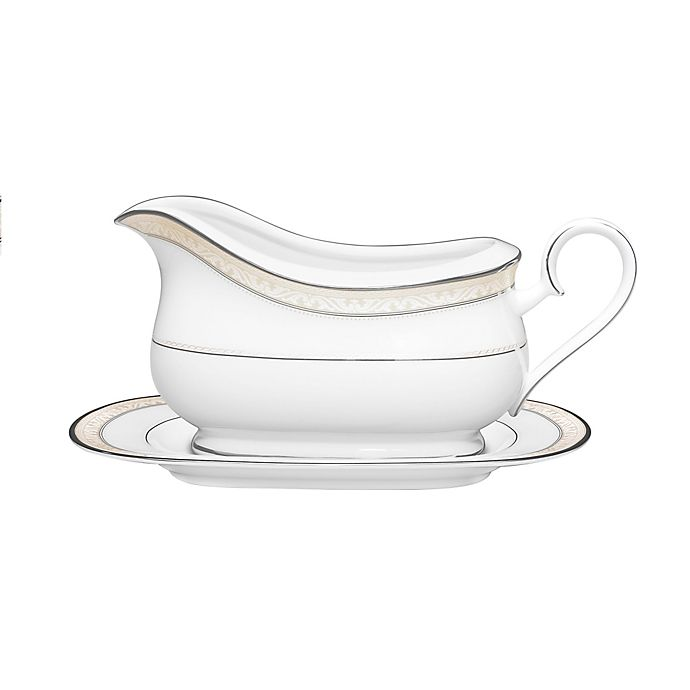Alternate image 1 for Noritake® Montvale Platinum Gravy Boat with Stand