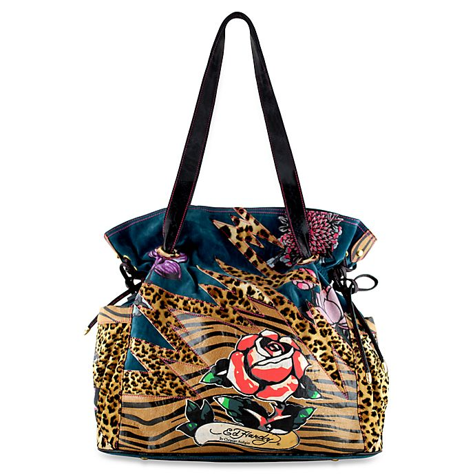 771624c389f5 Ed Hardy Leopard Lace-Up Diaper Tote Bag by Christian Audigier® - Blue