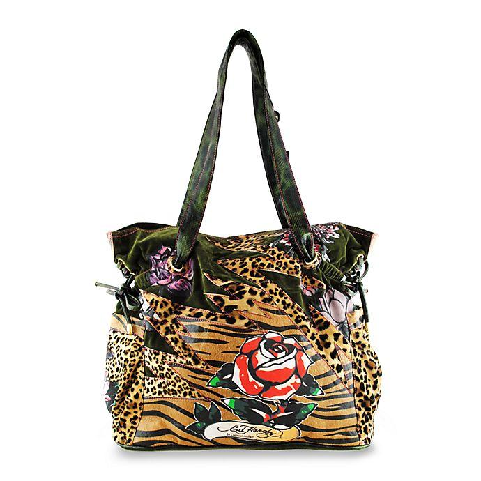 0e3541e57e14 Ed Hardy Leopard Lace-Up Diaper Tote Bag by Christian Audigier® - Olive