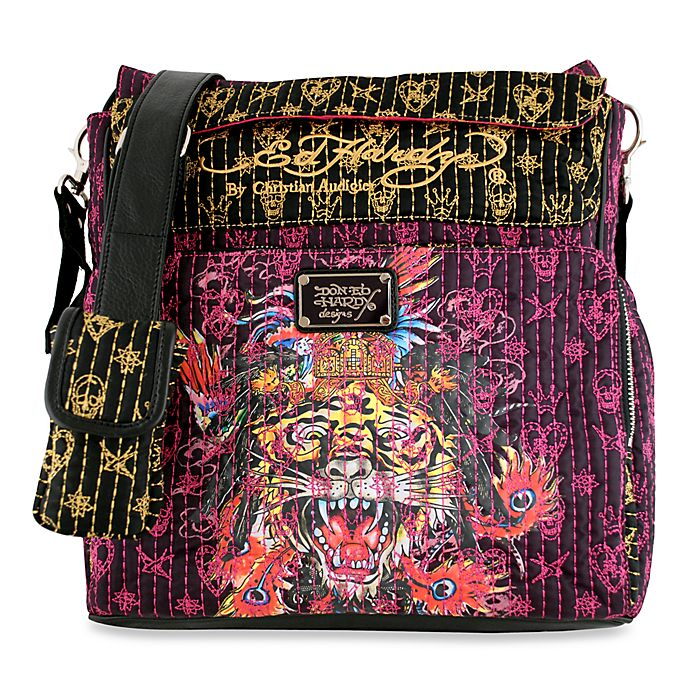 59618a5fea62 Ed Hardy Zip Bottom Diaper Tote Bag by Christian Audigier® - Turquoise