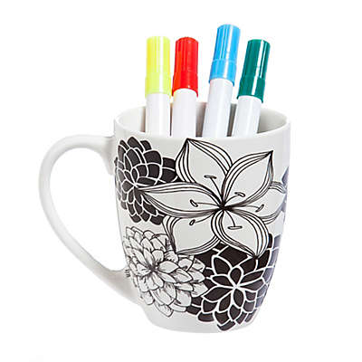 Just Add Color™ Floral 2 Coloring Mug