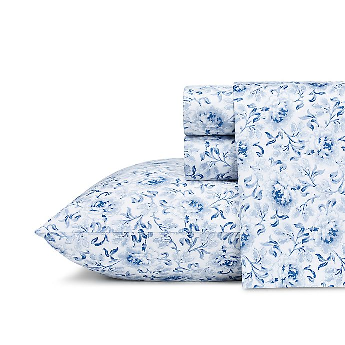 Alternate image 1 for Laura Ashley® Lorelei Sheet Set in Dark Blue