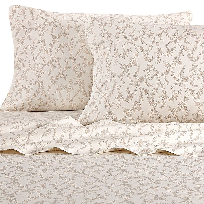 Alternate image 1 for Laura Ashley® Victoria Queen Sheet Set in Taupe