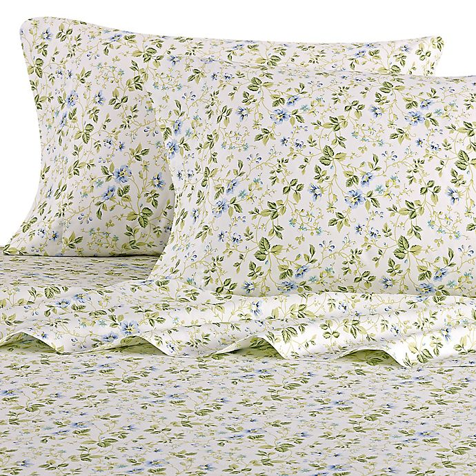 Alternate image 1 for Laura Ashley® Spring Bloom Queen Sheet Set in Periwinkle