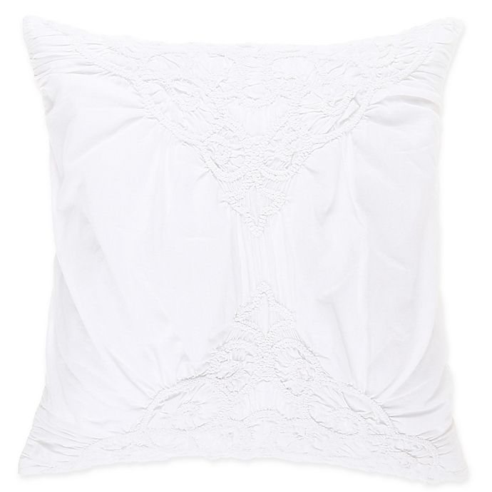 Alternate image 1 for Wamsutta® Vintage Ruched 16-Inch Square Throw Pillow in White