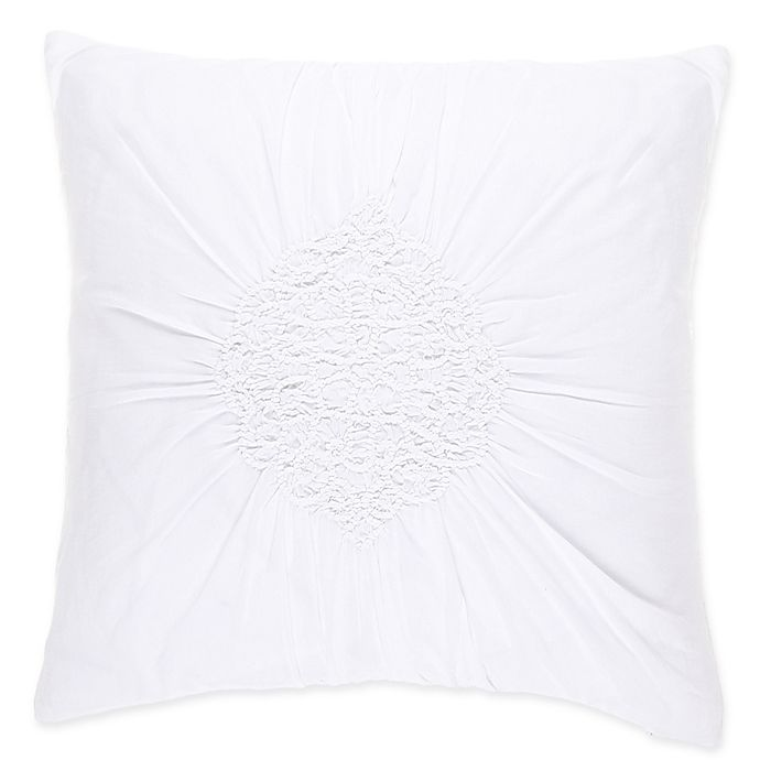 Alternate image 1 for Wamsutta® Vintage Ruched 18-Inch Square Throw Pillow in White