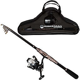 Wakeman Carbon Fiber/Steel Ultra Telescopic Spinning Rod and Reel Combo in Black/Silver
