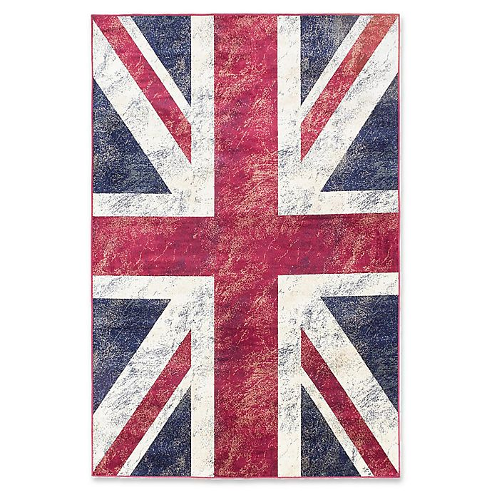 Union Jack Rug In Burgundy Navy Bed Bath And Beyond Canada