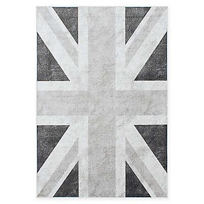 Union Jack 5-Foot 2-Inch x 7-Foot 8-Inch Area Rug in Dark Grey
