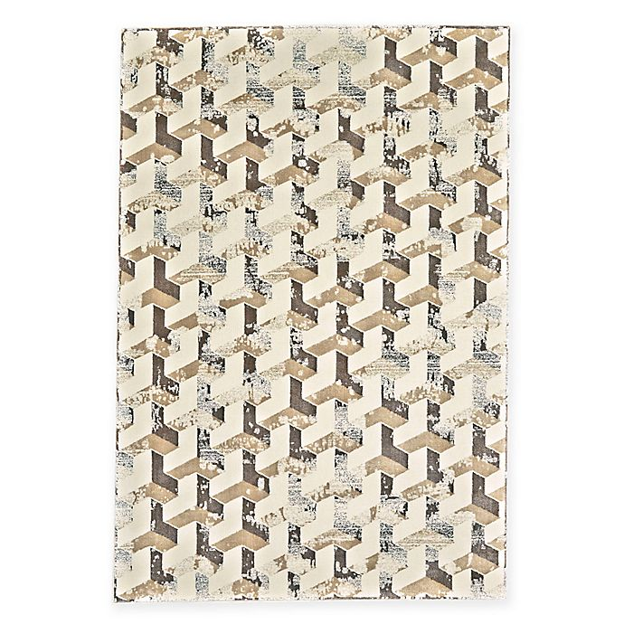 Alternate image 1 for Feizy Settat Geometric Cube 7-Foot 10-Inch x 11-Foot Rug in Cream/Silver
