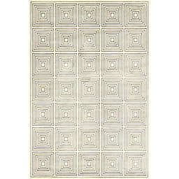 Feizy Settat Geometric Squares 7-Foot 10-Inch x 11-Foot Area Rug in Cream/Grey