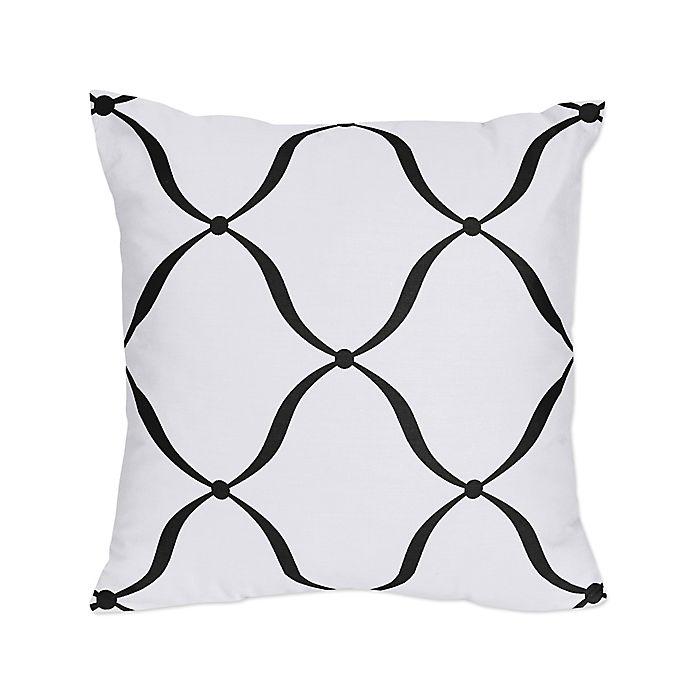 Alternate image 1 for Sweet Jojo Designs® Princess Square Throw Pillows in Black/White (Set of 2)
