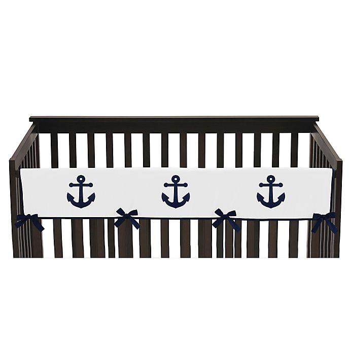 Alternate image 1 for Sweet Jojo Designs Anchors Away Long Crib Rail Guard Cover in Navy/White