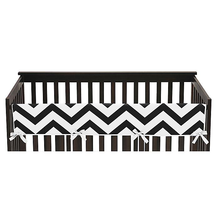 Alternate image 1 for Sweet Jojo Designs Chevron Long Crib Rail Guard Cover in Black/White