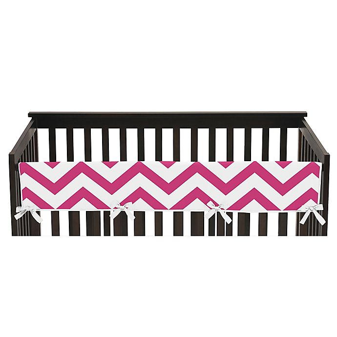 Alternate image 1 for Sweet Jojo Designs Chevron Long Crib Rail Guard Cover in Pink/White