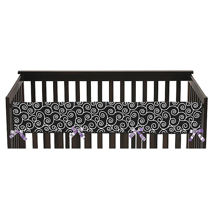 Alternate image 1 for Sweet Jojo Designs Kaylee Reversible Long Crib Rail Guard Cover in Purple/White