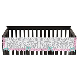 Sweet Jojo Designs Skylar Long Crib Rail Guard Cover in Pink/White