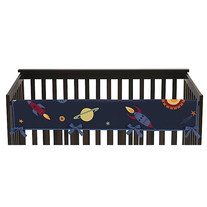 Alternate image 1 for Sweet Jojo Designs Space Galaxy Reversible Long Crib Rail Cover in Navy/Green