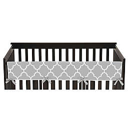 Sweet Jojo Designs® Trellis Long Crib Rail Guard Cover in Grey/White