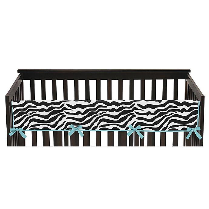 Alternate image 1 for Sweet Jojo Designs Funky Zebra Long Crib Rail Guard Cover in Turquoise/White