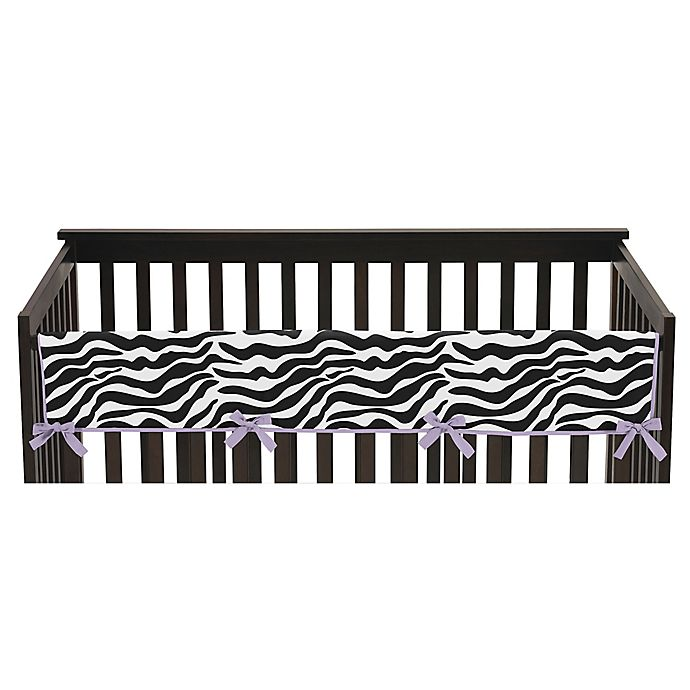 Alternate image 1 for Sweet Jojo Designs Funky Zebra Long Crib Rail Guard Cover in Purple/White