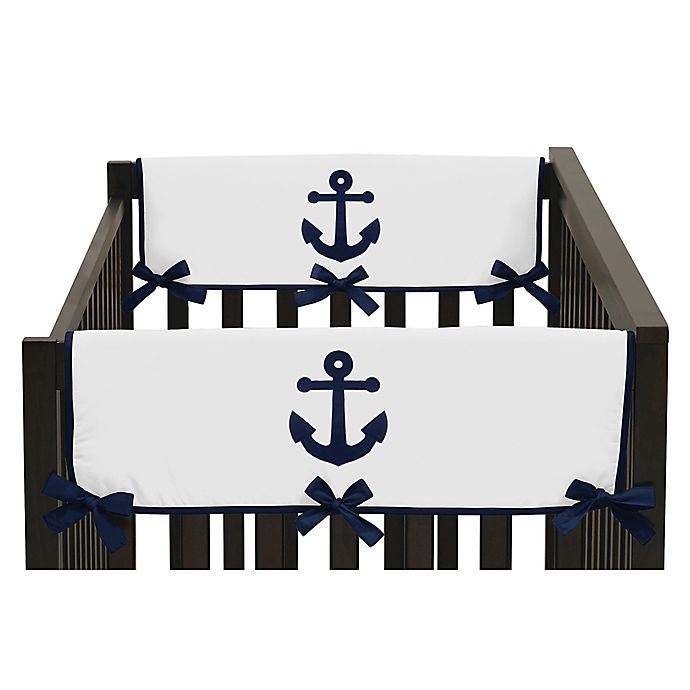 Alternate image 1 for Sweet Jojo Designs Anchors Away Side Crib Rail Guard Covers in Navy/White (Set of 2)