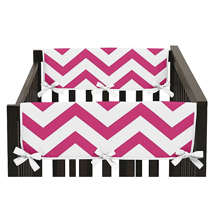 Alternate image 1 for Sweet Jojo Designs Chevron Side Crib Rail Guard Covers in Pink/White (Set of 2)
